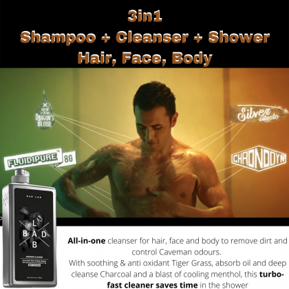 Bad Lab Caveman Cleaner 3-In-1 Hair Face Body Cleaner With Tiger Grass Extract & FluidiPure™8G 400ml Halal