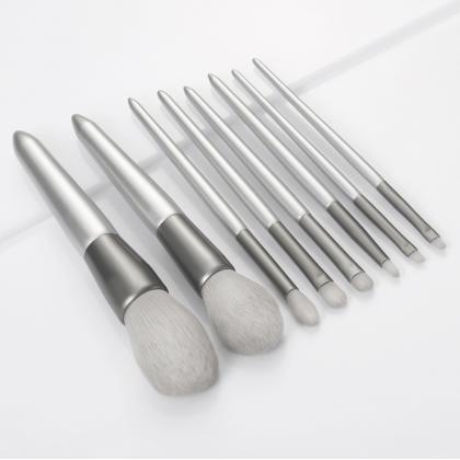 8Pcs Makeup Brush Set Silver Makeup Brushes Soft Grey Synthetic Brush Eyeshadow Eyebrow Lip Brush